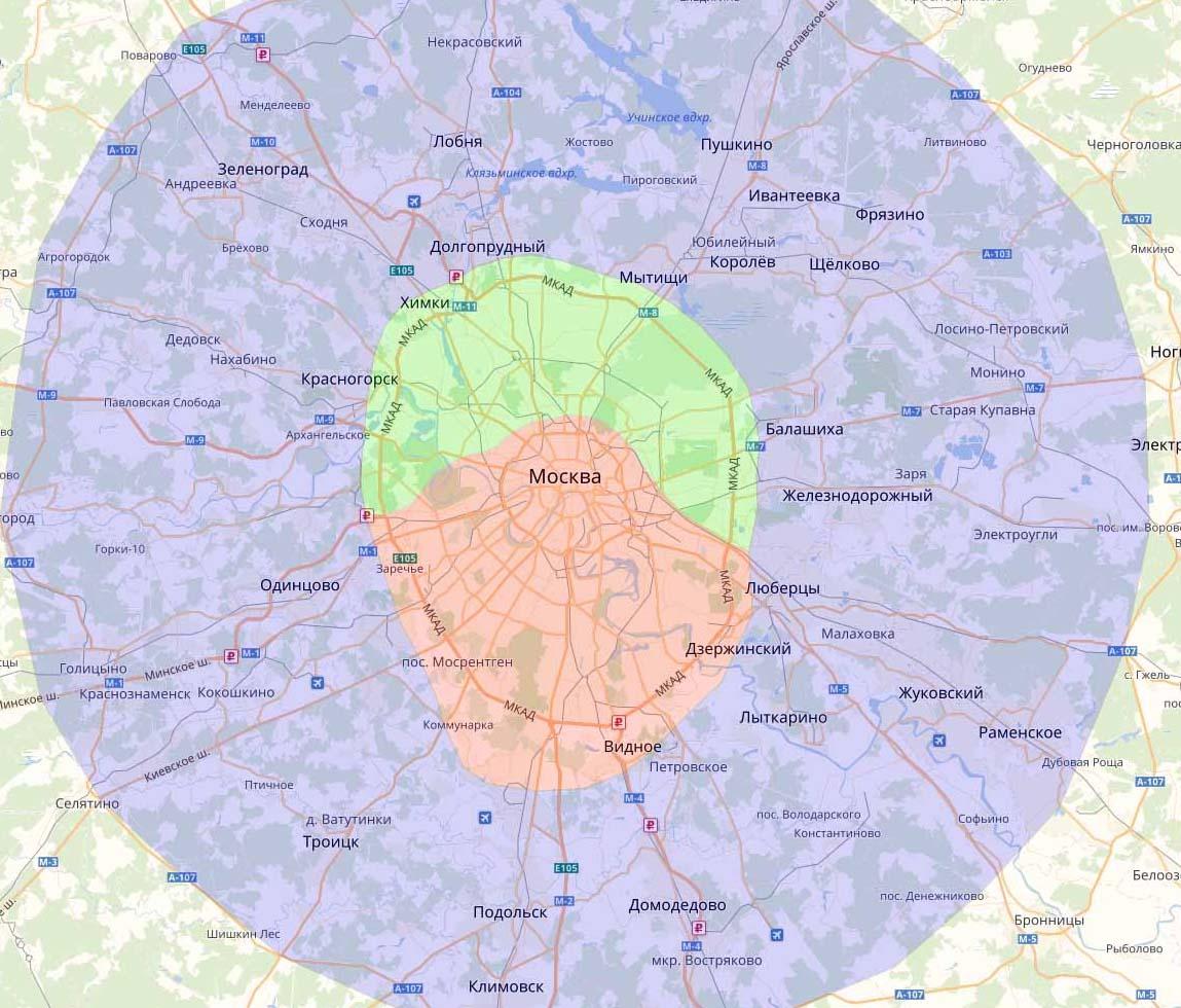 Зона доставки Яндекс Шеф